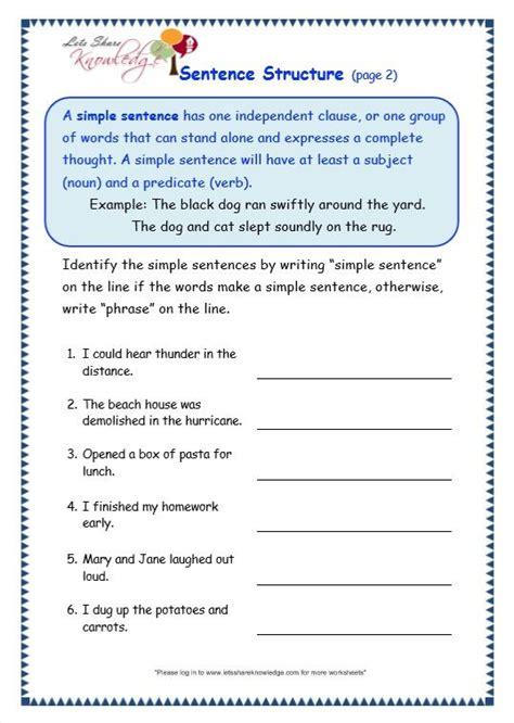 sentence structure worksheet topic sentences text