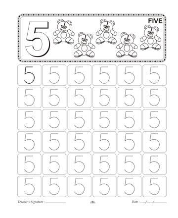 number writing 5 sheet edu for number