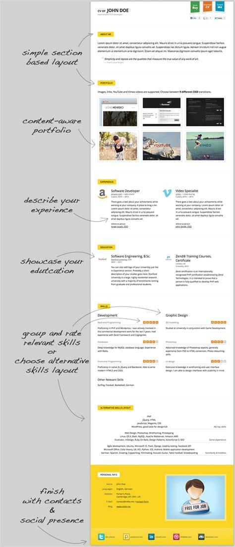 responsive cv resume html5 template 3 skins themeforest