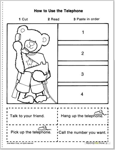 sequencing worksheets for preschool story sequencing cut amp paste learningenglish esl 93613