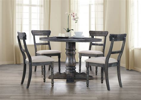 transitional style weathered grey finish pc  table chairs dining set ebay