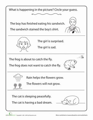 inferences worksheet education