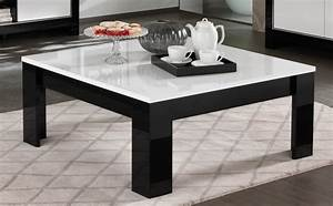 Table Basse Noire Design : table basse carr e design laqu e blanc noir savana matelpro ~ Carolinahurricanesstore.com Idées de Décoration