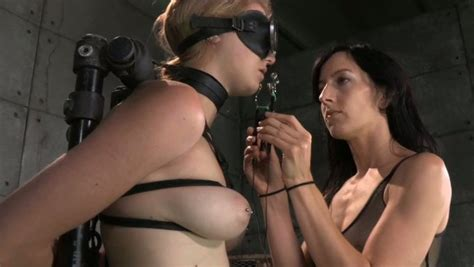 hot white blonde girl is blindfolded and bound in shibari