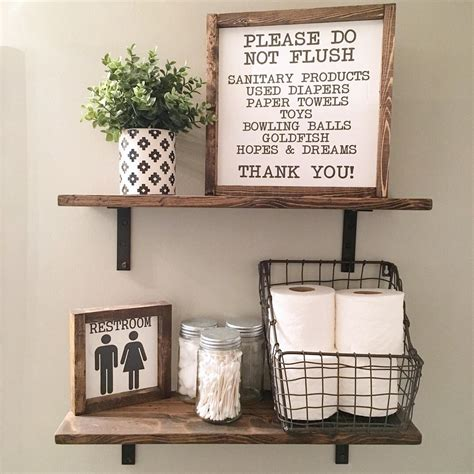 Doing an amazing touch with the walls of your bathroom is just a simple project and will not cost you too much for there are many available cheap decors that can perfectly. 13X13 | Please Do Not Flush | Wash Your Hands | Bathroom Sign | Wood Framed Sign | Rustic Decor ...