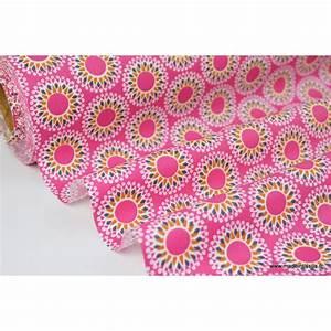 Tissu 100 Coton : tissu coton imprim mandala fuchsia moutarde et bleu ~ Teatrodelosmanantiales.com Idées de Décoration