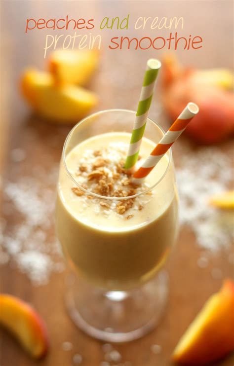 Peaches Cream Protein Smoothie Running With Spoons
