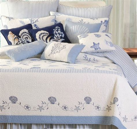 treasures by the sea full queen quilt set blue white