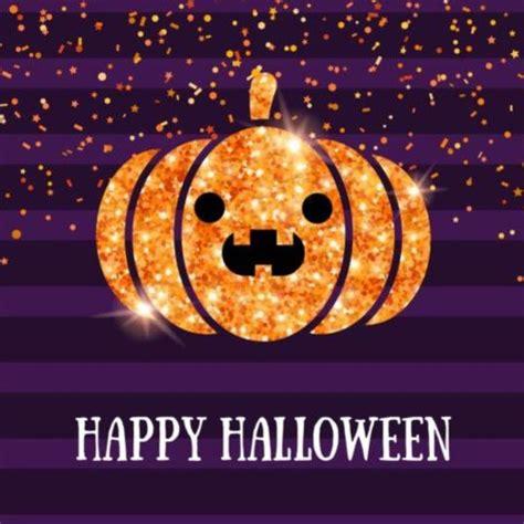 Shining Pumpkin Lantern With Happy Halloween Purple