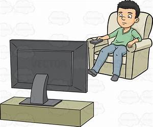A Man Switching To A Different Tv Station Cartoon Clipart ...