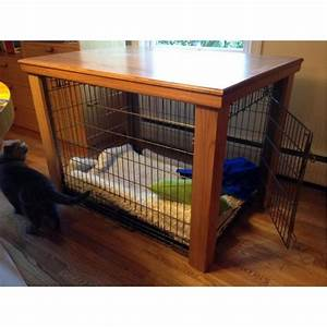 wooden table dog crate cover With small dog crate table