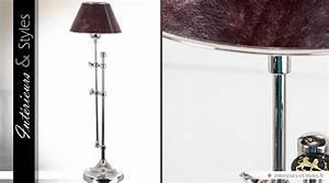 Abat Jour Lampe Sur Pied : lampe sur pied chrom avec abat jour en cuir marron 70 cm ~ Nature-et-papiers.com Idées de Décoration
