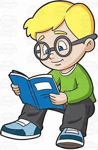 A Boy Studying His Notes Vector Clip Art Cartoon