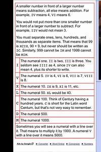 Roman Numerals Conversion Chart Roman Numeral Conversion