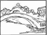 Coloring Lake Bridge Pages Printable River Pond sketch template