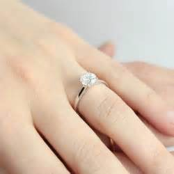 wedding ring finger 0 5ct cut solitaire engagement ring 18k white gold parallel shank ebay