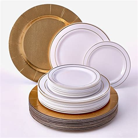 plates disposable plastic dinnerware dinner elegant plate modern silver collection salad gold heavy charger spoons glare golden dishes wedding economical