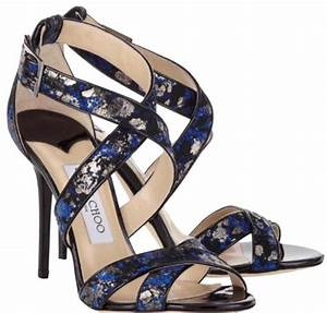 Jimmy Choo Black and Blue Metallic Open Toe Lace On Suede ...