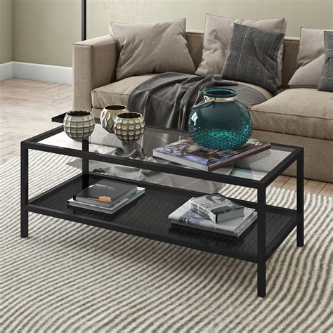 No living room is complete without the. Industrial Glass Coffee Table with Perforated Metal Storage Shelf for Living Room, Rectangle ...