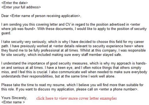 aplication leter for security guard application leter gallery cv letter and
