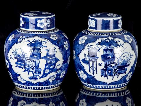 blue ginger jar ls c1700 kangxi blue and white pair of large ginger jars ebay