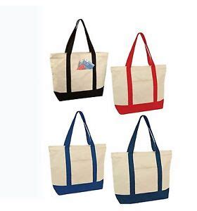 large zippered canvas reusable grocery shopping bag boat tote totes bag 4 color ebay