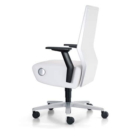 white modern desk chair with modern swivel and roller