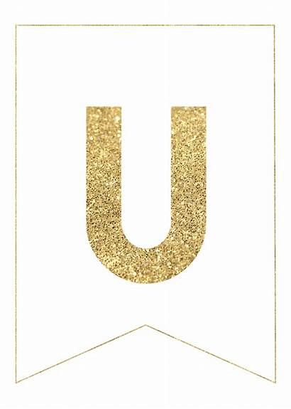 Letters Printable Gold Banner Paper