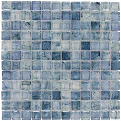 clear glass mosaic tile stained sky blue  mineral tiles