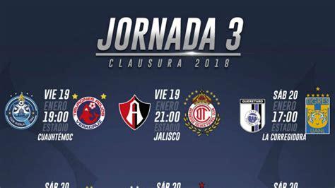 fechas  horarios de la jornada  del clausura  de la liga mx  mexico