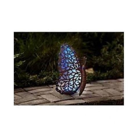 blue butterfly outdoor gardens and solar lights on