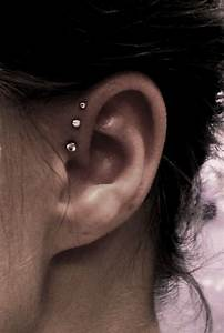 The gallery for --> Cute Triple Helix Ear Piercing