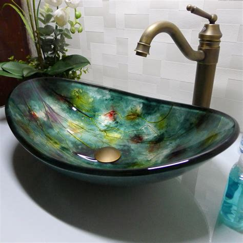 Boat Shaped Basin by Best Bathroom Tempered Glass Sink Handcraft Counter Top