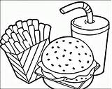 Fries Hamburger Coloring Pages Getdrawings sketch template