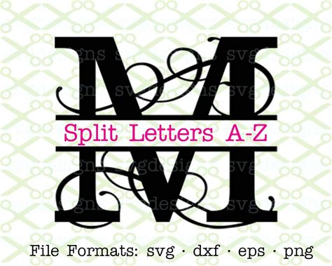 flourish split letter monogram svg dxf eps png split etsy
