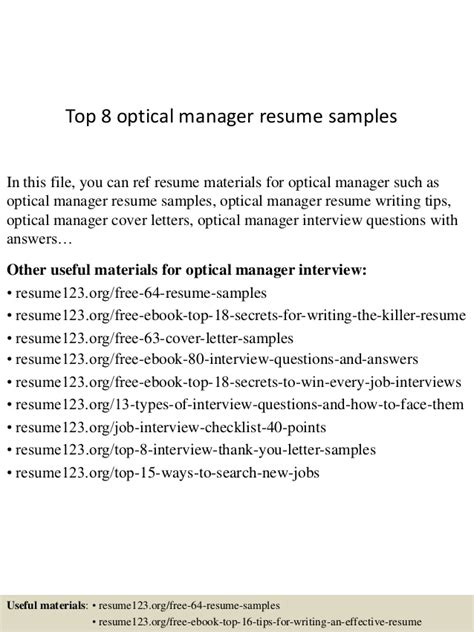 top 8 optical manager resume sles