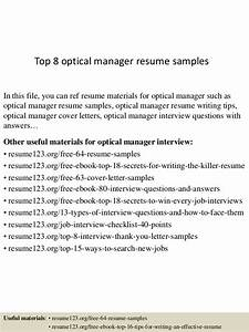top 8 optical manager resume samples With cover letter for optical assistant