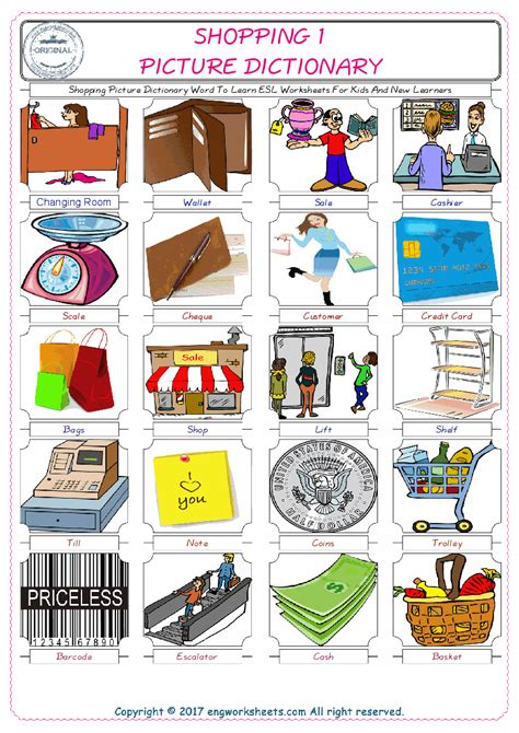 shopping esl printable english vocabulary worksheets