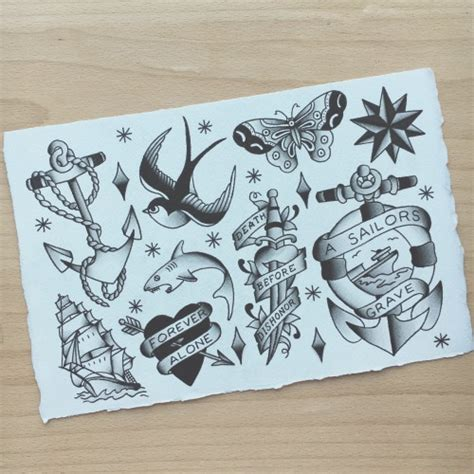 tattoo flash sheet on tumblr