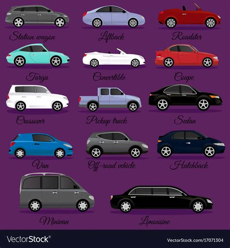 Set Of Car Body Types Royalty Free Vector Image