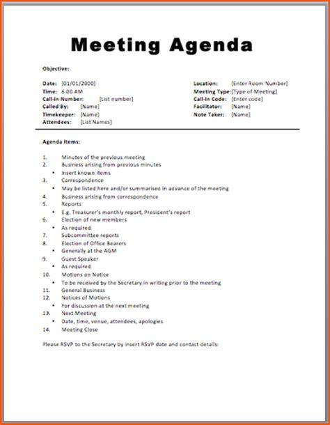 agenda formats bookletemplateorg
