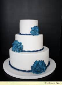 blue and silver wedding navy hydrangea wedding cake the hudson cakery
