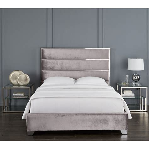 Sierra Grey Velvet King Bed - Xcella