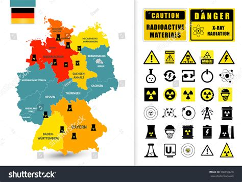 nuclear power plant map germany nuclear stock vector