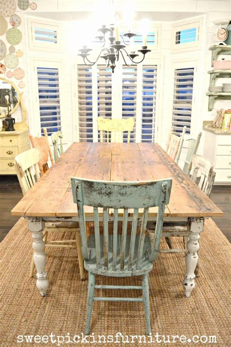 My new farm style table w/mismatched chairs!   Sweet