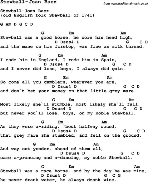 Summercamp Song, Stewballjoan Baez, With Lyrics And Chords For  Images Frompo