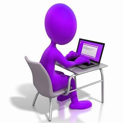 Desk Figure Stick Working Laptop Sitting Purple