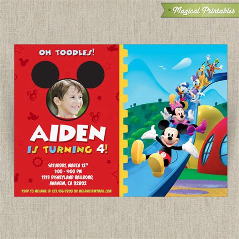 mickey mouse clubhouse invitations template disney mickey mouse clubhouse customizable printable invitation with photo