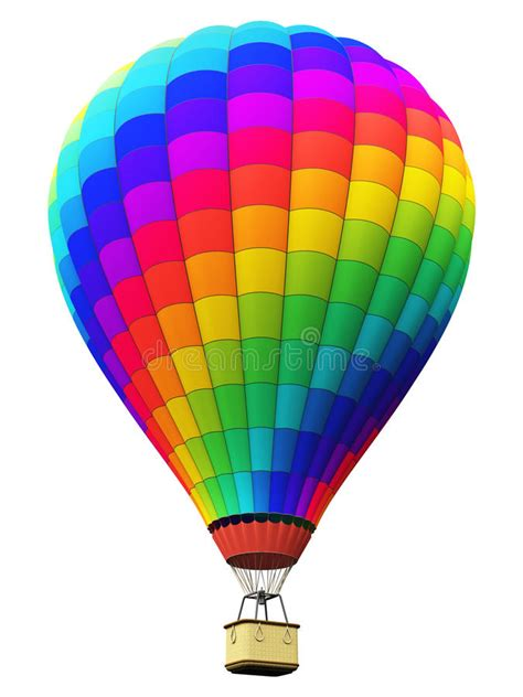 color rainbow hot air balloon isolated  white background