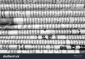 Black White Background English Language Newspapers Stock ...